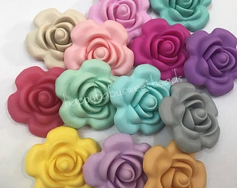100/% Food Grade Silicone Beads 40mm Rose Flower Beads Silicone Flower Beads Sensory Beads Large Wine Silicone Flower Beads