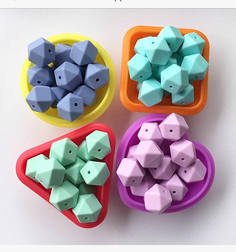 5PCS 17mm  Free Baby Silicone Teething Nursing Teether Hexagon Beads Chain