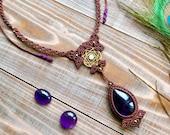 Amethyst Necklace, Moonstone Pendant, Statement Necklace, Bohemian Jewelry, Micro Macrame, Boho Necklace