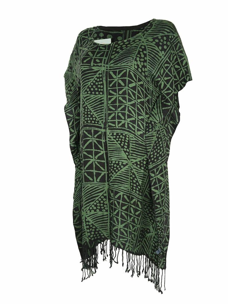 194152c6cf5 African Clothing-Nigerian Fabric-Batik Tunic-Green and Indigo