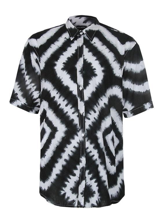 Adire Shirt Mens African Shirt Black and White Eco dyed Shirt Handdyed Clothing Black Tunics African shirt Batik Fabric Ghana Batik Adire
