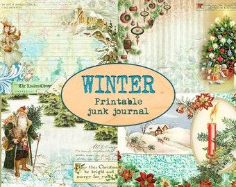 Winter junk journal (12 sheets: pages+ephemera) / Christmas printable kit / Collaged scrapbooking paper /Card making / Christmas