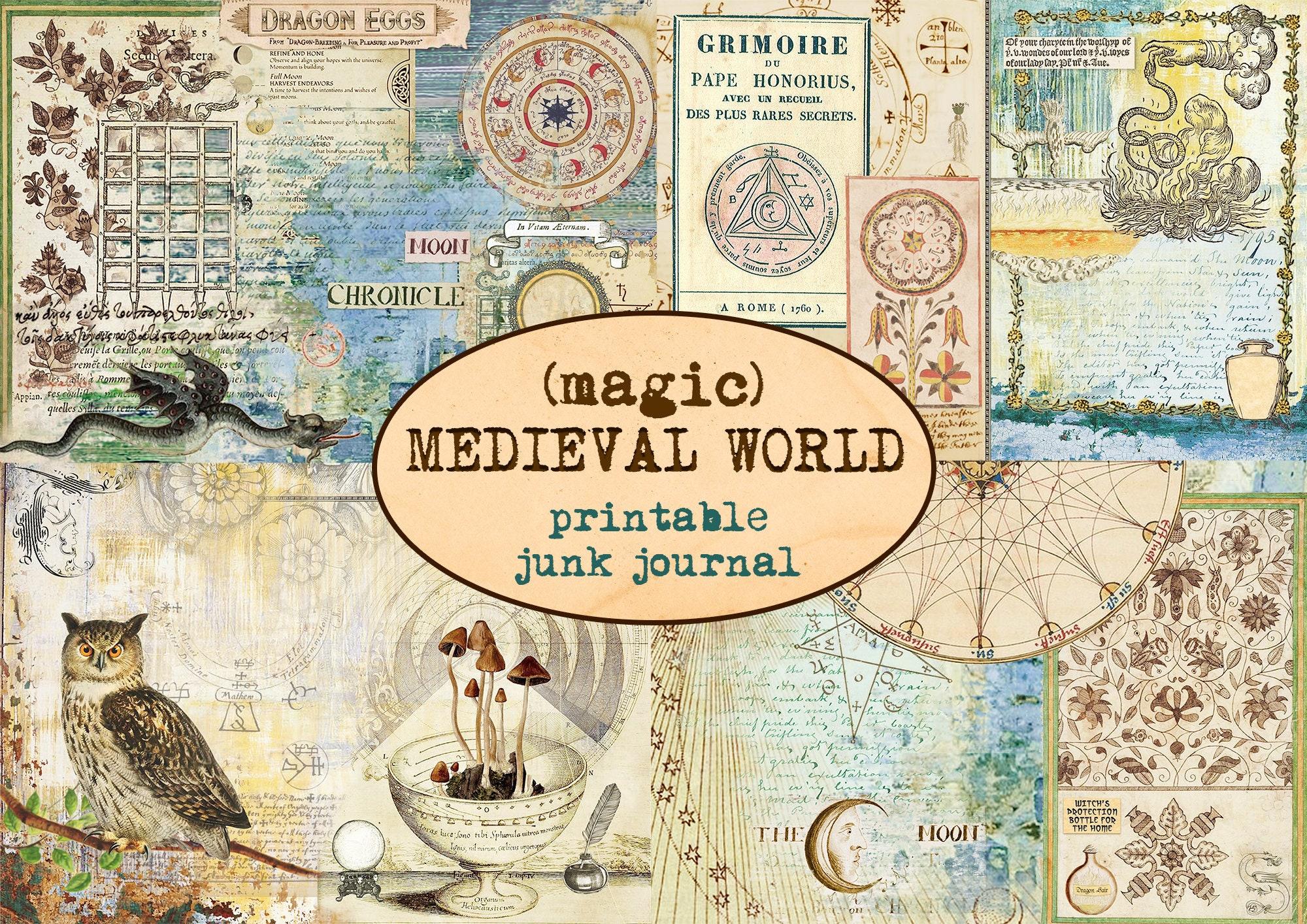 MEDIEVAL MAGIC WORLD printable junk journal / Grimoire journaling kit / Spell book / Ephemera / Mysterious journal/ Scrapbooking paper