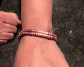 Ombré pink to burgundy thread wrapped woven bracelet