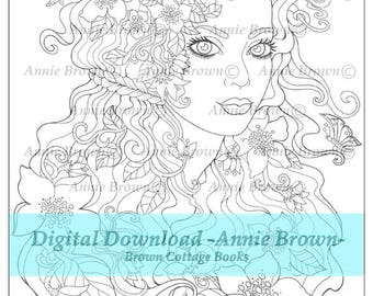 Adult coloring page Fantasy Maiden |Fantasy Coloring Page for Adults | Fantasy Coloring Digital Fairy by Annie Brown | Brown Cottage Books