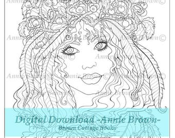 Adult coloring page Fantasy |Fantasy Coloring Page for Adults | Fantasy Coloring Digital Blueberry by Annie Brown | Brown Cottage Books