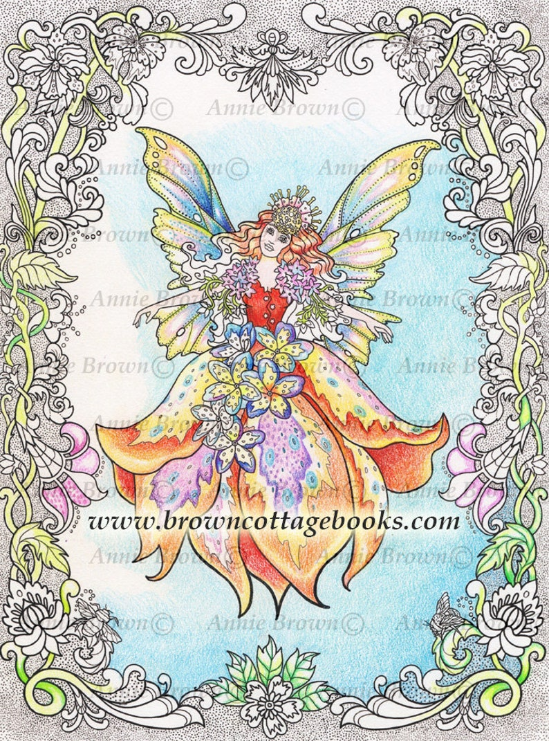 Flower fairies adult coloring page download line art fantasy digi stamp printable download coloring book fairy border by annie brown