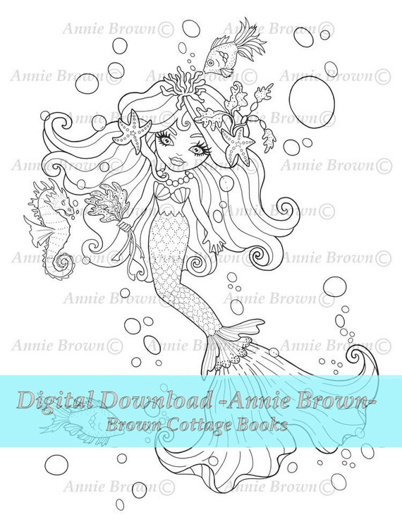 Mermaid Coloring Page Adult Coloring Page Line Art Instant Etsy