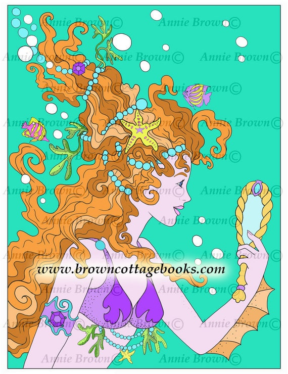 Adult Coloring Pages Mermaids Coloring Page Line Art Fantasy | Etsy