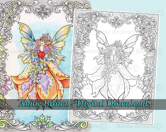 Fairies Coloring Page Fantasy Art Printable Download Line Etsy