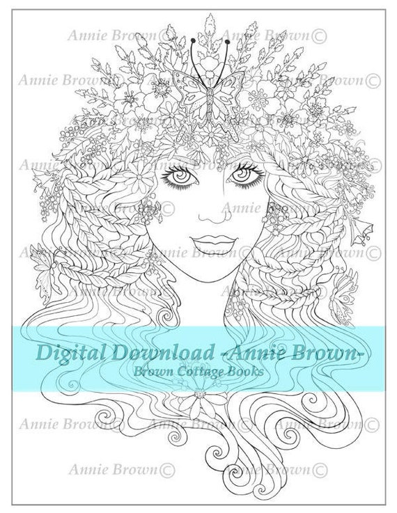 Adult Coloring Page Printable Download Fantasy Digi Stamp Etsy