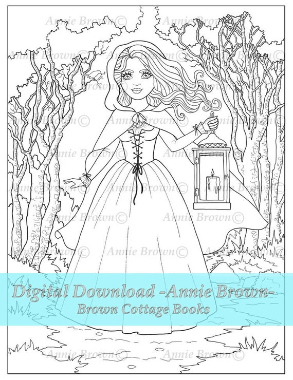Fantasy Woman Adult Coloring Pages Fantasy Maiden Printable Etsy