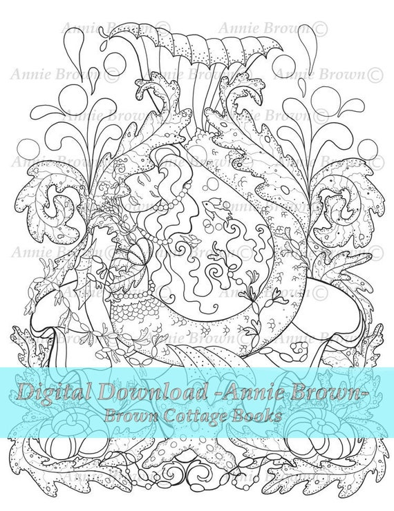 Adult Coloring Page Mermaids Coloring Page Line Art Fantasy Digi Stamp  Printable Download Coloring Book Sleeping Mermaid by Annie Brown