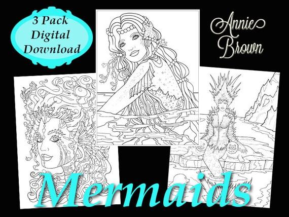 Pdf Download Adult Coloring Book Fantasy Digi Stamp Printable Etsy