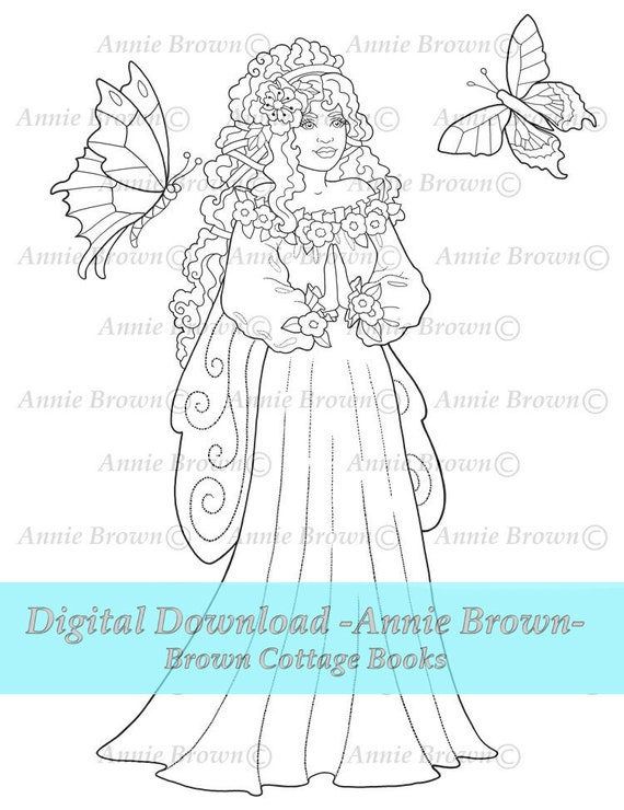 Violet Butterfly Fairy Coloring Pages Fairies Home Printable Download  Fantasy Digi Stamp Page Line Art Fantasy Coloring Book by Annie Brown