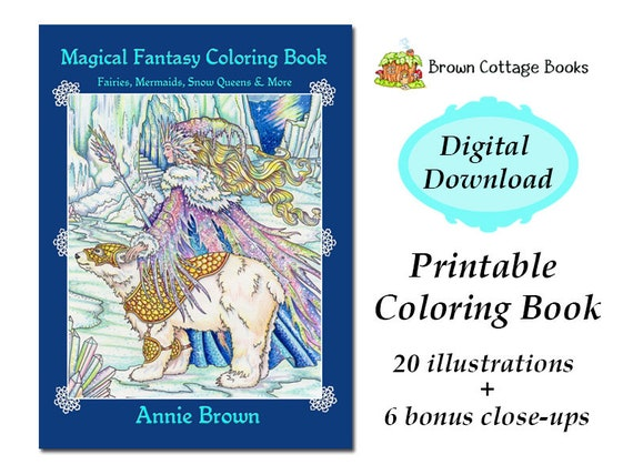 PDF Download Adult Coloring Book Fantasy Digi Stamp Printable | Etsy