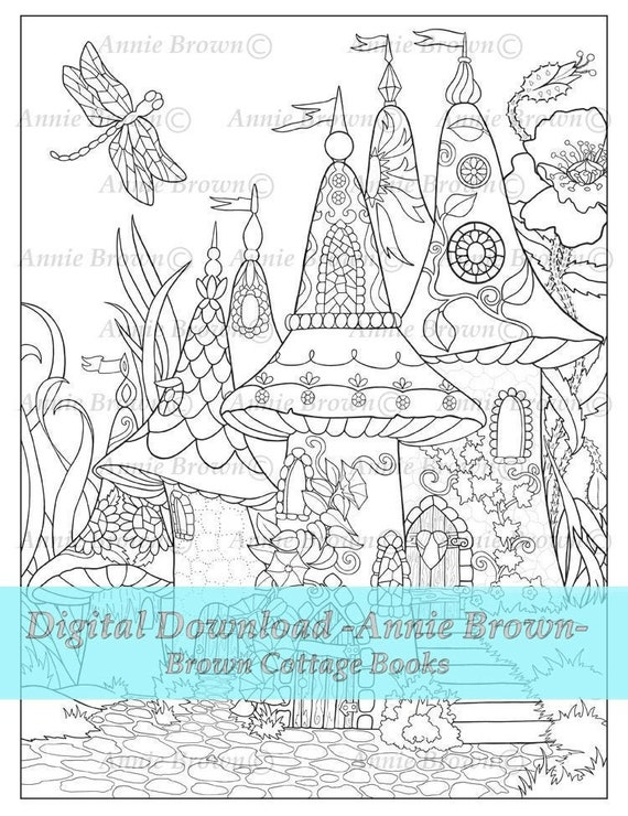 - Fairy Home Coloring Page Fantasy Art Printable Download Etsy