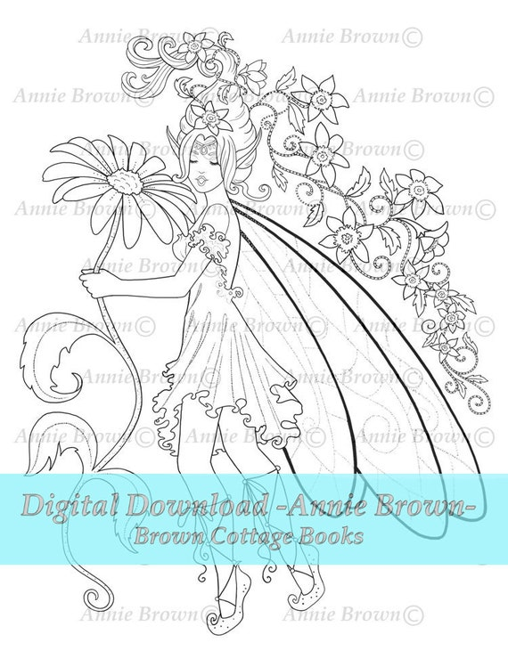 - Fairies Coloring Page Fantasy Art Printable Download Line Etsy