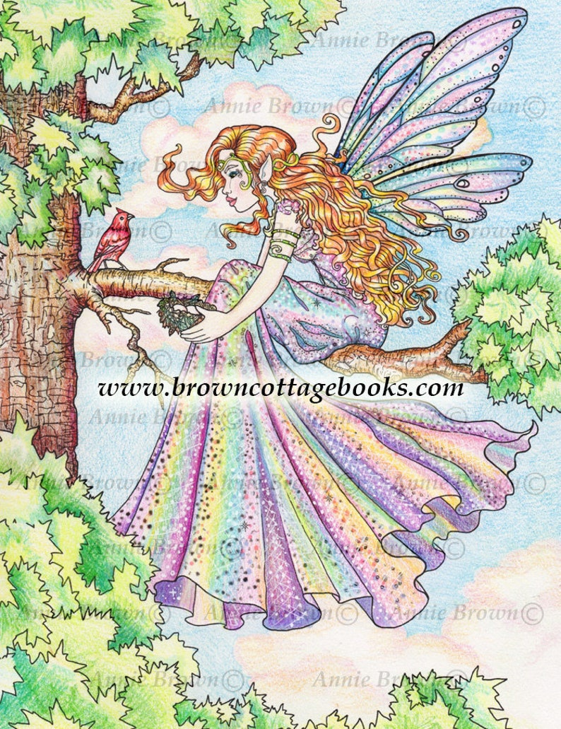 Adult Coloring Pages Fairies Coloring Page Line Art Fantasy Digi Stamp Printable Download Coloring Book Fairy Tree By Annie Brown