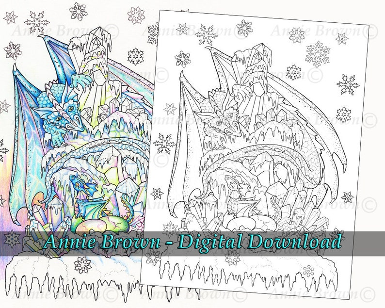 Ice Dragon Download Page Adult Coloring Page Fantasy ...