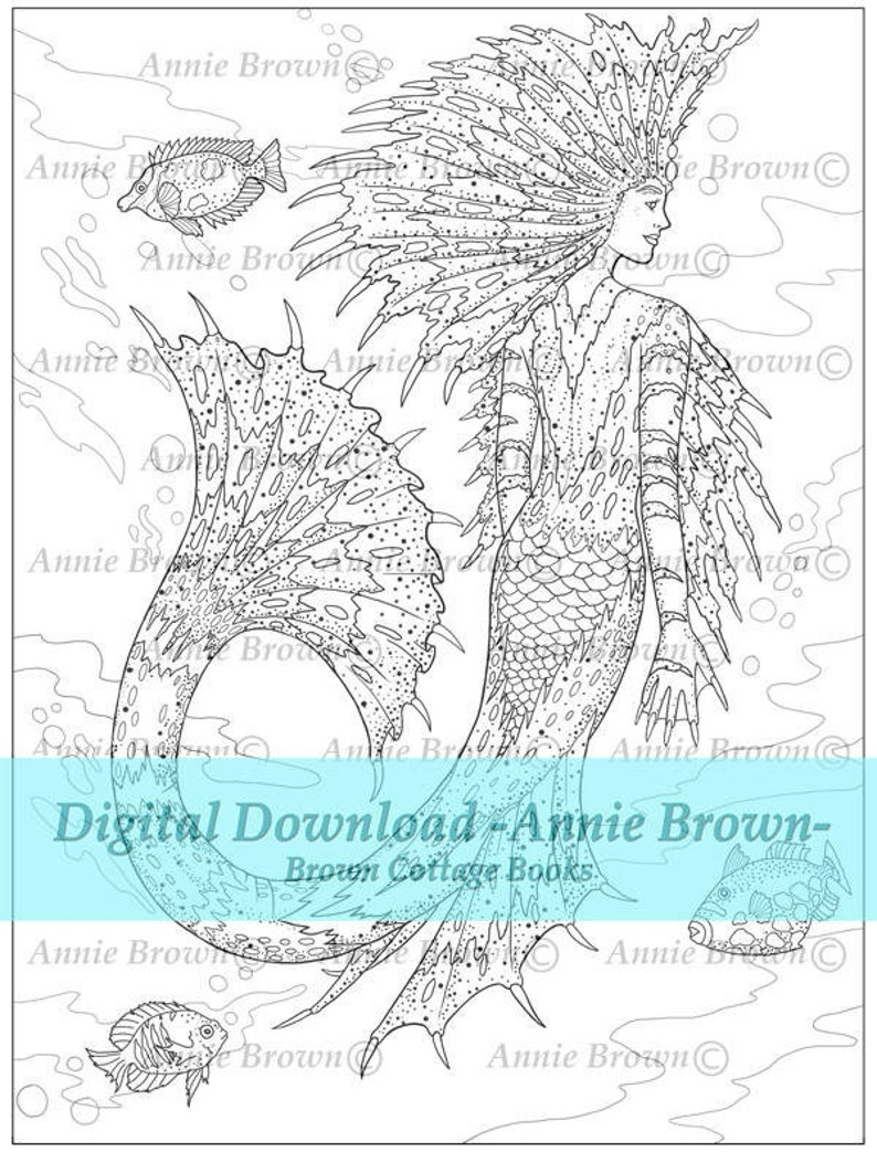- Mermaids Adult Coloring Page Coloring Page Line Art Fantasy Etsy