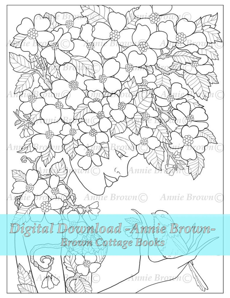 - Adult Coloring Pages Flower Driad Fairy Coloring Page Line Art Etsy