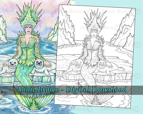 Mermaids Coloring Page Siren Coloring Page Line Art Seals Etsy