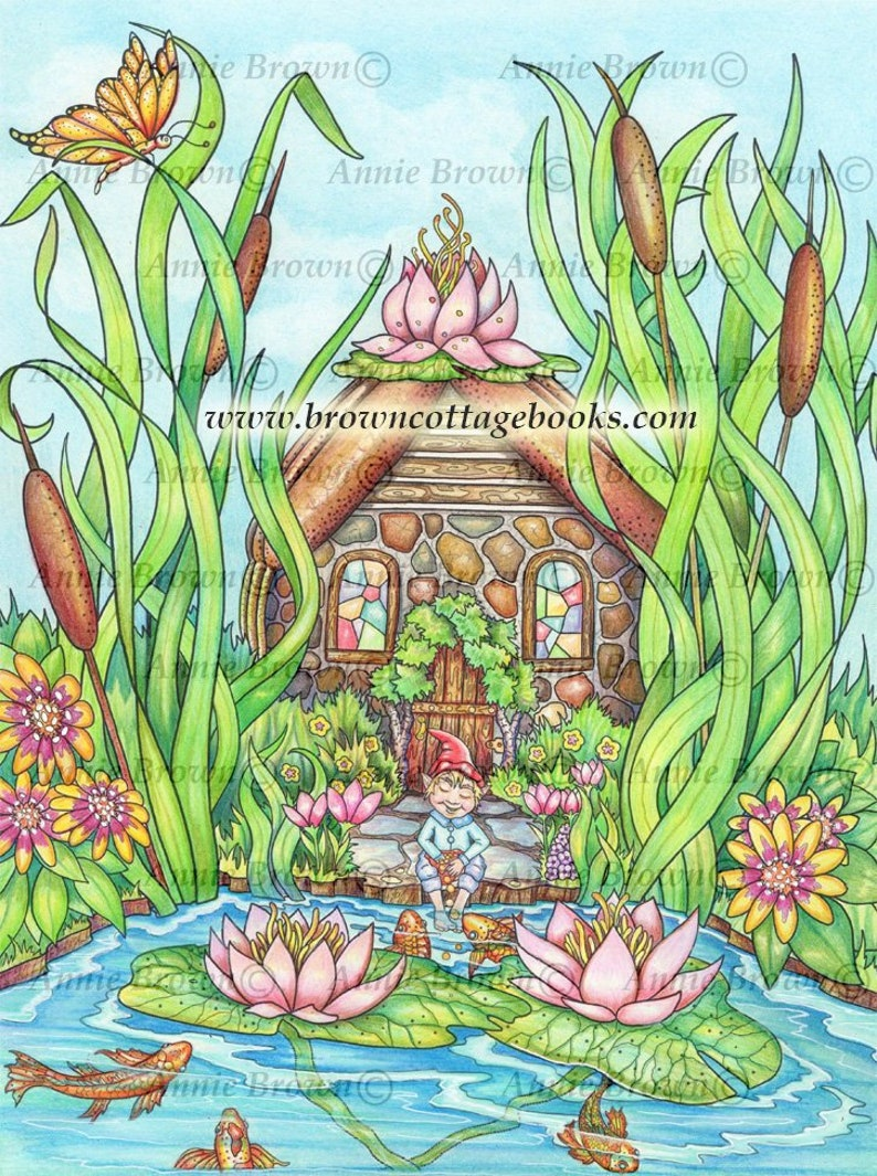photo relating to Printable Lily Pads identify Grownup Coloring Webpages Fairy Lily Pad Household Printable Down load Myth Digi Stamp Coloring Web page Line Artwork Gnome Coloring E book by means of Annie Brown
