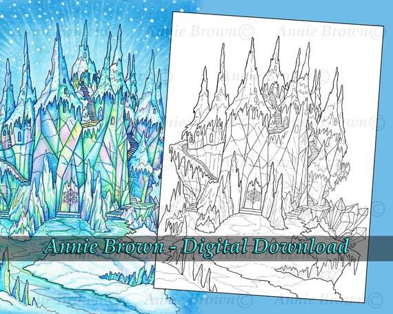 Castles Coloring Page Fantasy Art Printable Download Line Etsy