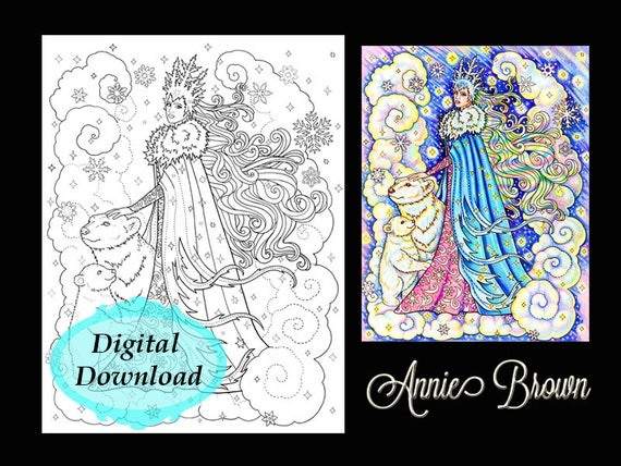 adult coloring page snow queen fantasy printable download digi stamp line art coloring book snow queen polar bears by annie brown
