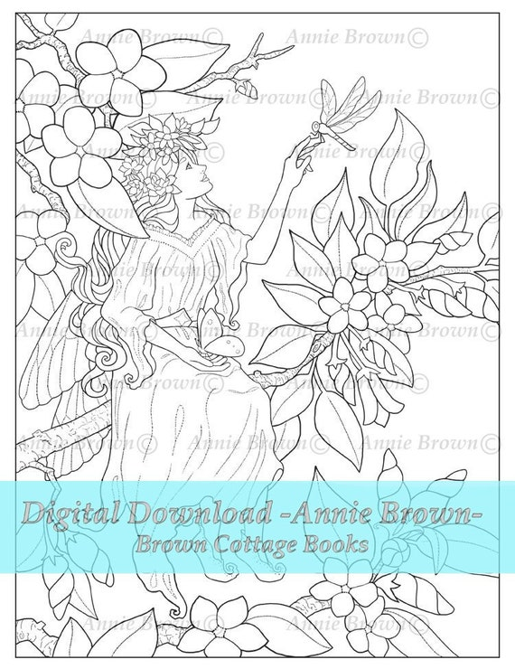 Adult Coloring Pages Flower Fairy Printable Download Fantasy Digi Stamp  Coloring Page Line Art Fairies Nature Coloring Book by Annie Brown