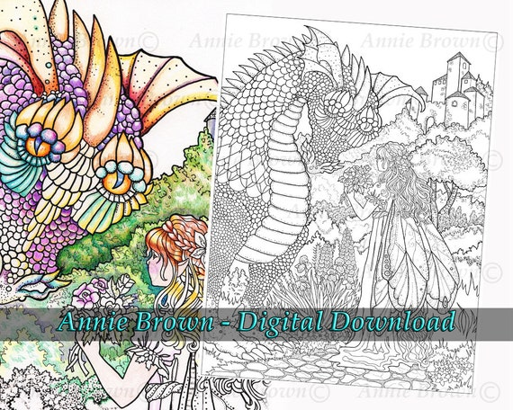 Download Adult Coloring Page Dragon Fantasy Printable Download Etsy