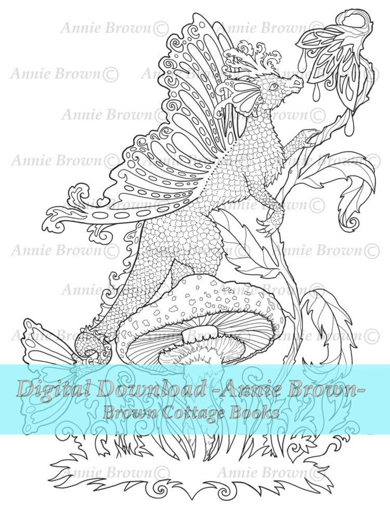 Dragons Adult Coloring Pages Fantasy Printable Download Digi Stamp Line Art  Coloring Book Dragon Fairy by Annie Brown