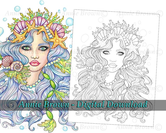 Mermaid Coloring Page Line Art Instant Download Printable Etsy