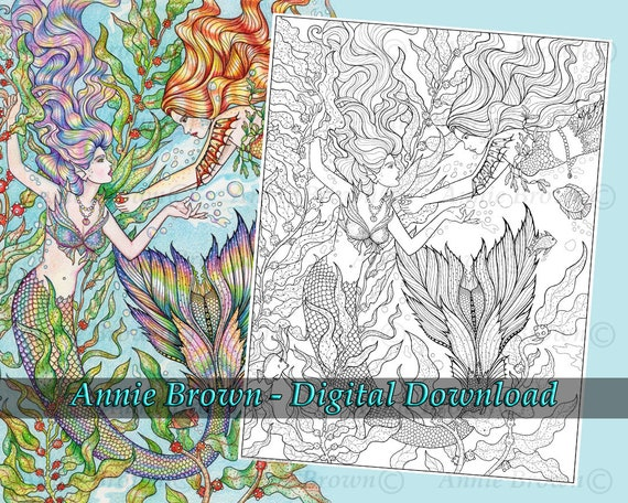 - Mermaid Coloring Page Adult Coloring Page Line Art Instant Etsy