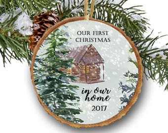 first christmas in our new home ornament first christmas new house pine trees nature christmas tree ornaments new home gift home