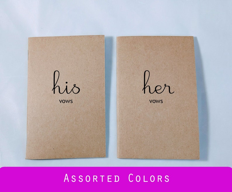 Simple Wedding Vows.His Her Vow Books 3 5 X 5 5 Inch Simple Vow Books Wedding Vows Custom Vow Books Notes Blank Lined Pages Assorted Colors