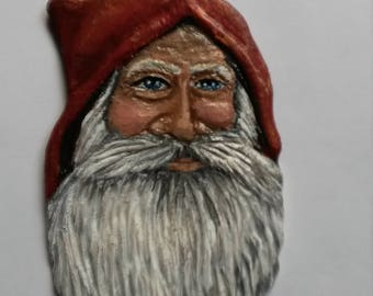Handcarved, handpainted Santa ornament in bass wood. Original, unique, collectible, one of a kind. Shipping & personalization included.
