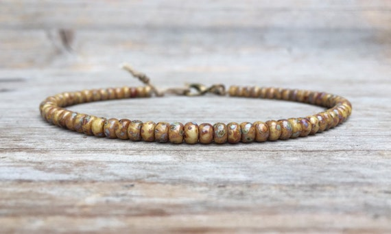 2 Strands African Beaded Ankle//Anklet Chain Bronze
