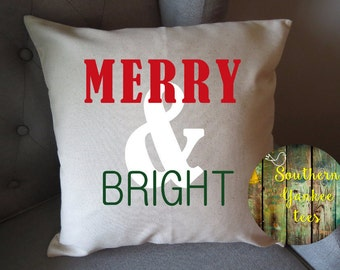 indoor pillow cover only merry and bright christmas