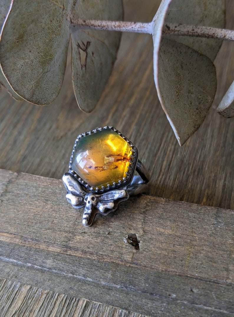 Amber Deathhead Moth Ring Amber Hexagon Hawkmoth Silversmithed Sterling Silver Honey Gothic Jewelry Size 6 Golden Yellow Gemstone