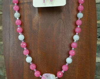 Pink Agate Stone Necklace