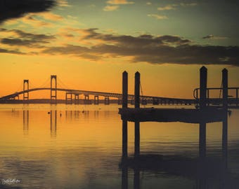 Prints and Framing Available -Newport Bridge Sunrise