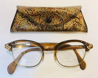 6ecfa08dd7a Bronze and Gold Glasses Frames with Case Vintage 1960s