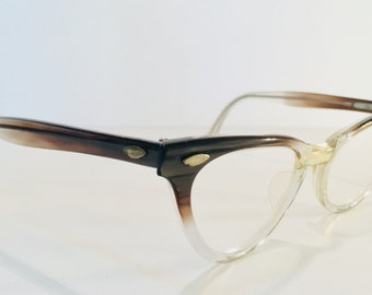 1ab1f1ae1b Clear and Brown Plastic Cat Eye Glasses Vintage 1950s Frames