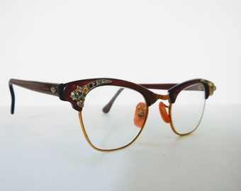 98395c8abbae Vintage 1950s Cat Eye Glasses with Crystal Inlay