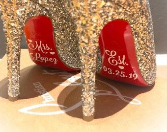8c90cb8314cbd4 Wedding shoe decal wedding shoe stickers bride shoe decal bridal party shoe  stickers high heel wedding shoe sticker wedding decal sticker