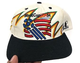 2b316bb1812 Vintage World Cup 1994 Logo Athletic Sharktooth Soccer Football White Dome  Snapback Hat Cap 90s Sports Specialties