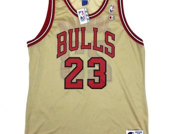 f4e3d32b3a8 Rare New Deadstock Vintage Gold Chicago Bulls Michael Jordan Champion NBA  Basketball Jersey Size 44 Large Shirt 90s DS NWT