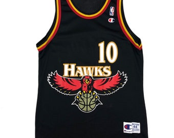 c43e33f0f895 Vintage Atlanta Hawks Mookie Blaylock Big Hawk Champion NBA Basketball Jersey  Size 44 Large Shirt 90s Black